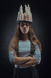 Portrait of man with hat of candels Royalty Free Stock Image