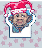 Portrait of a man in a hat jester. Christmas joke. Human ears do not fit the format of ID photos Stock Photos