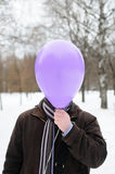 Portrait of man with head - balloon Stock Photography