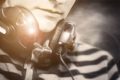Portrait of a man with headphones Royalty Free Stock Photography