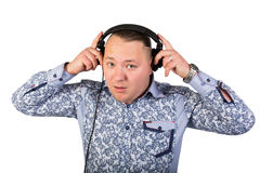 Portrait of  man in headphones Royalty Free Stock Photo