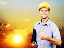 Portrait of a man  in a helmet on the sky Stock Photos