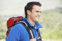 Portrait Of Man On Hike In Beautiful Countryside Stock Photos