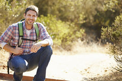 Portrait Of Man Hiking In Countryside Stock Photography