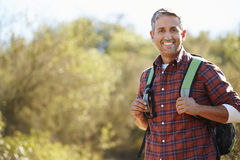 Portrait Of Man Hiking In Countryside Royalty Free Stock Photos