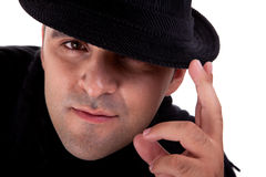 Portrait of a man with his black hat, Stock Images