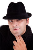 Portrait of a man with his black hat Royalty Free Stock Photography