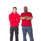 Portrait of a man and his teen son royalty free stock photo