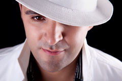 Portrait of a man with his white hat Royalty Free Stock Photos
