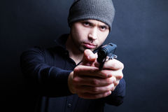 Portrait of a man holding gun Royalty Free Stock Photography