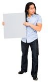 Portrait of a man holding placard Royalty Free Stock Image