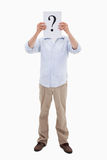 Portrait of a man holding a question Royalty Free Stock Image