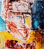 Portrait of man, hot batik, background texture, handmade on silk, abstract surrealism art stock photography