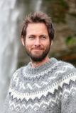 Portrait of man in Icelandic sweater outdoor Royalty Free Stock Images
