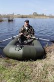 Portrait of man on inflatable boat Stock Image