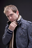Portrait of a man with  jacket Stock Images