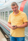 Portrait of a man on a journey on  train Stock Photo