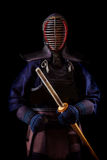 Portrait of man kendo fighter with bokuto Stock Images