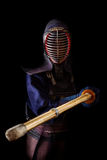 Portrait of man kendo fighter with bokuto Royalty Free Stock Photos
