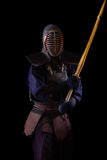 Portrait of man kendo fighter with bokuto Royalty Free Stock Photo