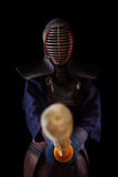 Portrait of man kendo fighter with bokuto Royalty Free Stock Image