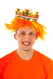 Portrait of man with kings day in Holland Stock Photo