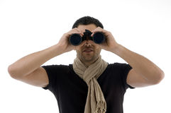 Portrait of man looking into binocular Royalty Free Stock Images
