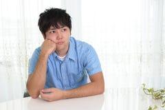 Uneasy Asian man. Portrait of man looking uneasy stock photos