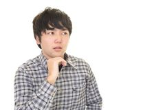 Uneasy Asian man. Portrait of man looking uneasy royalty free stock photography