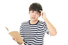 Uneasy Asian man. Portrait of man looking uneasy royalty free stock photo