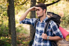 Portrait of a man with marching backpack Royalty Free Stock Images