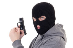 Portrait of man in mask aiming with gun isolated on white Stock Photo