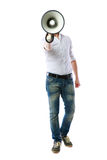 Portrait of a man with megaphone Stock Image