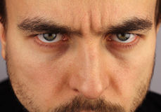 Portrait of a man, menacing look, closeup Stock Photo