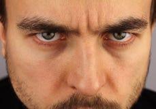 Portrait of a man, menacing look, closeup Stock Photo