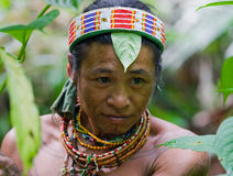 Portrait of a man Mentawai tribe in traditional headdress. MENTAWAI PEOPLE, WEST SUMATRA, SIBERUT ISLAND, INDONESIA – 16 NOVEMBER 2010: Portrait of a man Stock Image