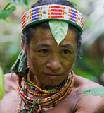 Portrait of a man Mentawai tribe in traditional headdress. MENTAWAI PEOPLE, WEST SUMATRA, SIBERUT ISLAND, INDONESIA – 16 NOVEMBER 2010: Portrait of a man Stock Photography