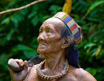 Portrait of a man Mentawai tribe in traditional headdress. MENTAWAI PEOPLE, WEST SUMATRA, SIBERUT ISLAND, INDONESIA – 16 NOVEMBER 2010: Portrait of a man Royalty Free Stock Photo