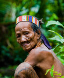 Portrait of a man Mentawai tribe in traditional headdress. MENTAWAI PEOPLE, WEST SUMATRA, SIBERUT ISLAND, INDONESIA – 16 NOVEMBER 2010: Portrait of a man Stock Images