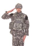 Portrait Of Man In Military Uniform Saluting Stock Photography