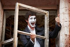 Portrait of a Man mime. Royalty Free Stock Photo