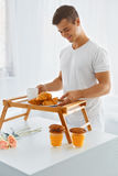 Portrait of man in the morning. Romantic breakfast Stock Photos