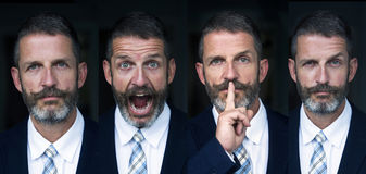 Portrait of man multiple face expressions composite Stock Photography