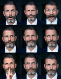 Portrait of man multiple face expressions composite Royalty Free Stock Photos