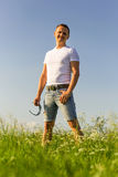 Portrait of man in nature. royalty free stock photos