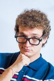 Portrait of a man with nerd glasses n studio fun Royalty Free Stock Photography