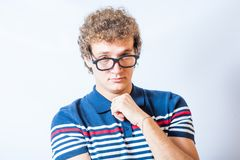 Portrait of a man with nerd glasses n studio fun Royalty Free Stock Photos