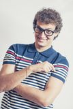 Portrait of a man with nerd glasses n studio fun Stock Photography
