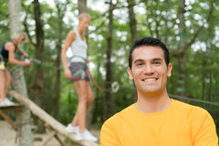 Portrait man at outdoor pursuits centre Royalty Free Stock Photos