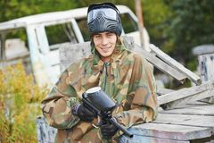 Portrait of Man paintball player Stock Photos